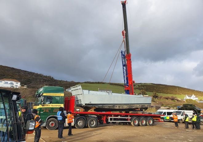 Landing Craft being lifted off a lorry