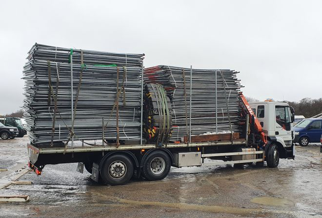 Heras Fencing being delivered to Filming Location