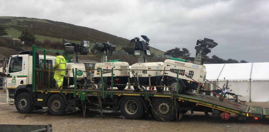 Mobile Lighting Towers On Back Of Transport