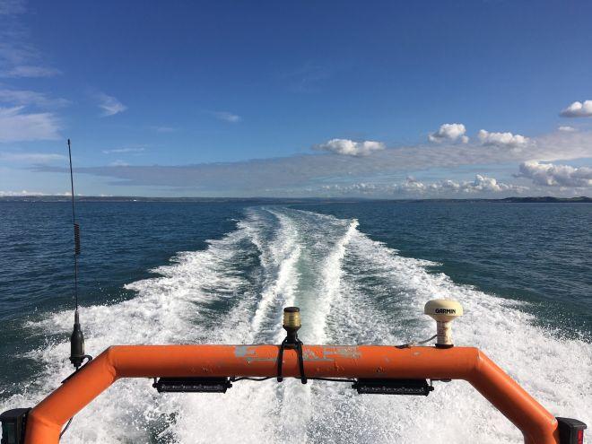 Safety Rib Out At Sea